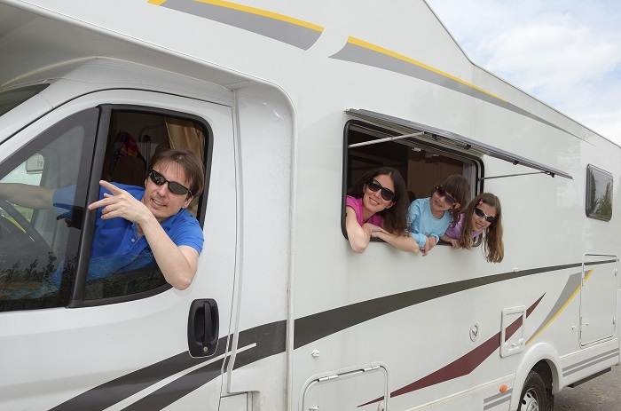 image of family in an RV in Texas